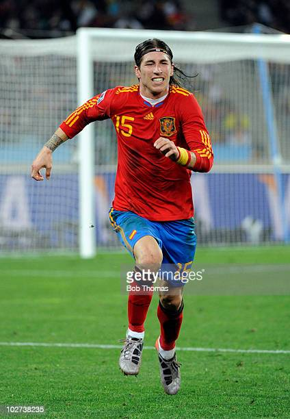 Sergio Ramos of Spain during the 2010 FIFA World Cup South Africa Semi Final match between Germany and Spain at Durban Stadium on July 7 2010 in...