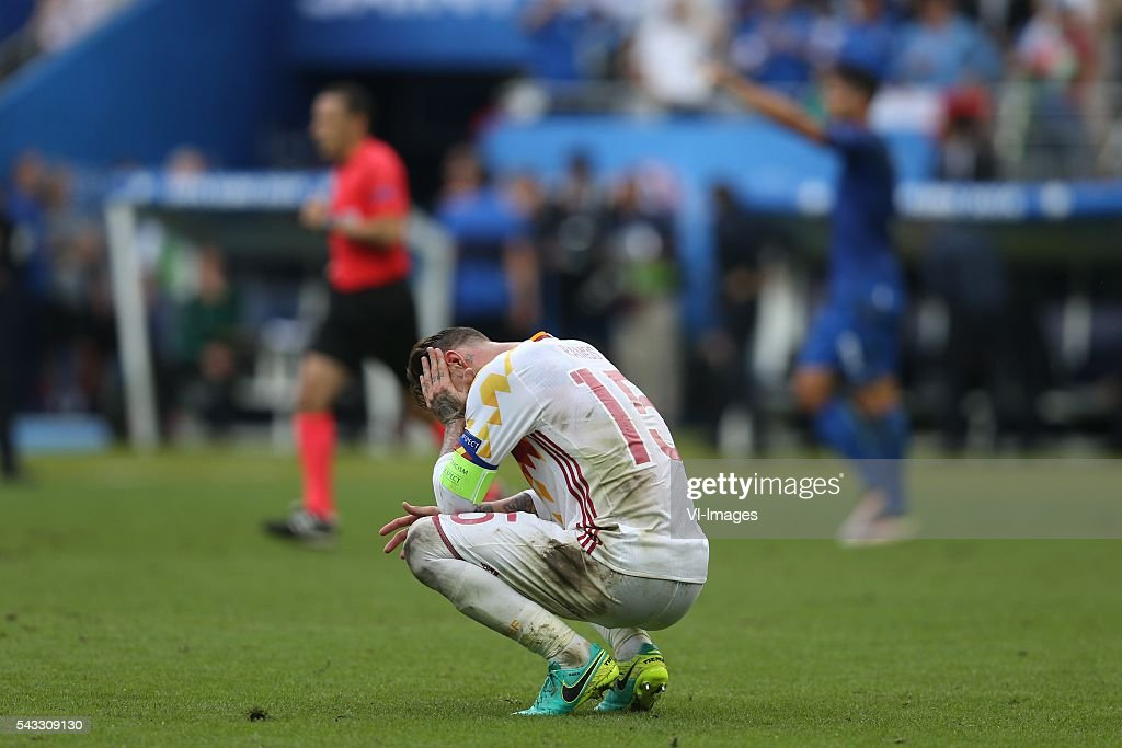 Sergio Ramos of Spain during the UEFA Euro 2016 round of 16 match between Italy and Spain on June 27, 2016 at the Stade de France in Paris, France.