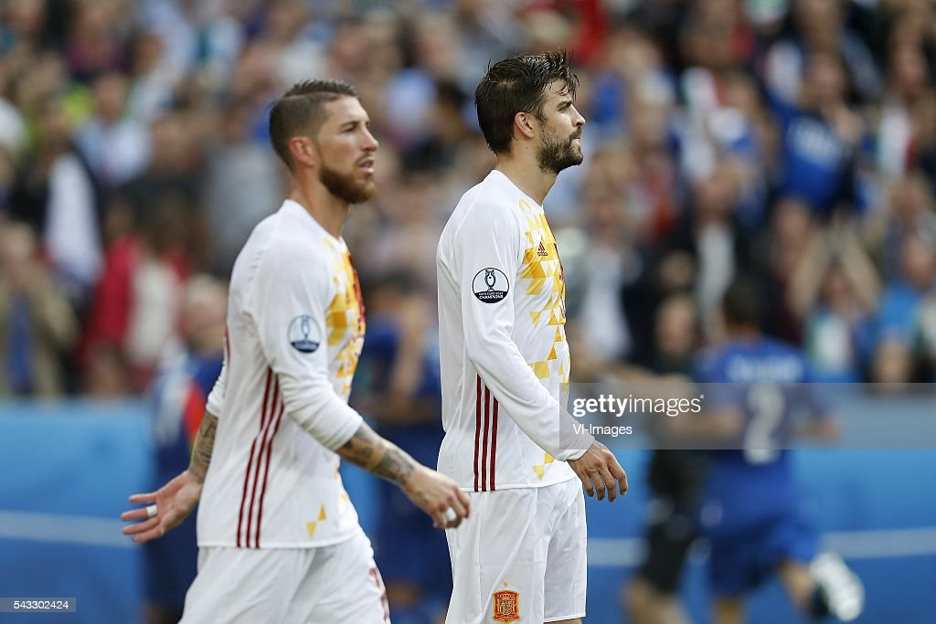 Sergio Ramos of Spain, Gerard Pique of Spain during the UEFA Euro 2016 round of 16 match between Italy and Spain on June 27, 2016 at the Stade de France in Paris, France.