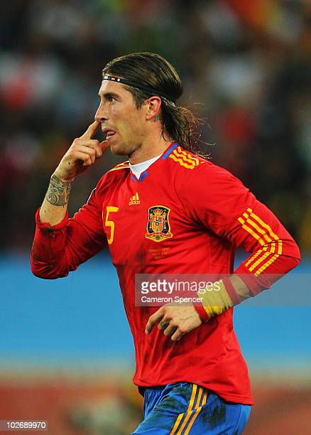 Sergio Ramos of Spain gestures during the 2010 FIFA World Cup South Africa Semi Final match between Germany and Spain at Durban Stadium on July 7...