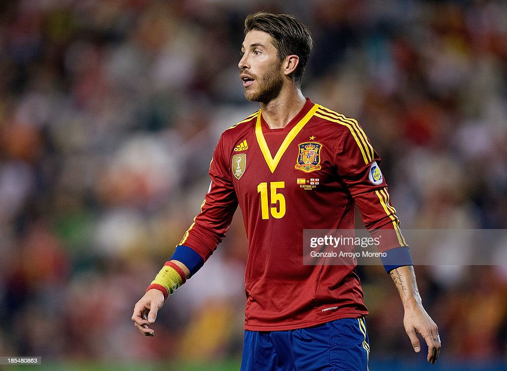 Sergio Ramos of Spain gives instructions to their teammates during the FIFA 2014 World Cup Qualifier match between Spain and Georgia at Carlos Belmonte stadium on October 15, 2013 in Albacete, Spain.