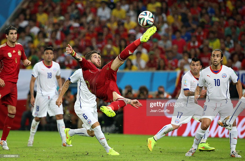 Sergio Ramos of Spain in action during the 2014 FIFA World Cup Brazil Group B match between Spain and Chile at Estadio Maracana on June 18, 2014 in Rio de Janeiro, Brazil.