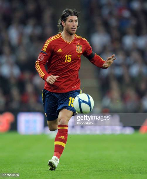 Sergio Ramos of Spain in action during the International Friendly match between England and Spain at Wembley Stadium on November 12 2011 in London...