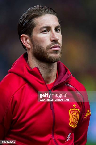 Sergio Ramos of Spain looks on prior to the FIFA 2018 World Cup Qualifier between Spain and Israel at Estadio El Molinon on March 24 2017 in Gijon...