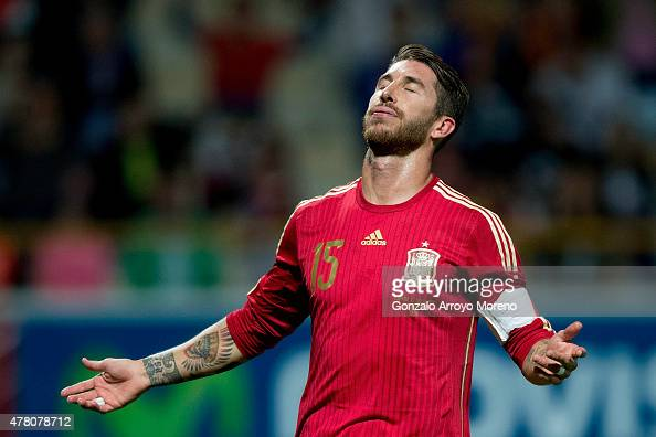 Sergio Ramos of Spain reacts after failing to score during the international friendly match between Spain and Costa Rica at Reino de Leon Stadium on...