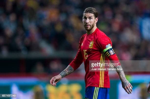 Sergio Ramos of Spain reacts during the FIFA 2018 World Cup Qualifier between Spain and Israel at Estadio El Molinon on March 24 2017 in Gijon Spain