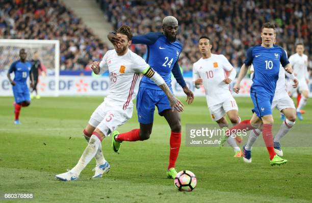 Sergio Ramos of Spain Tiemoue Bakayoko of France in action during the international friendly match between France and Spain between France and Spain...