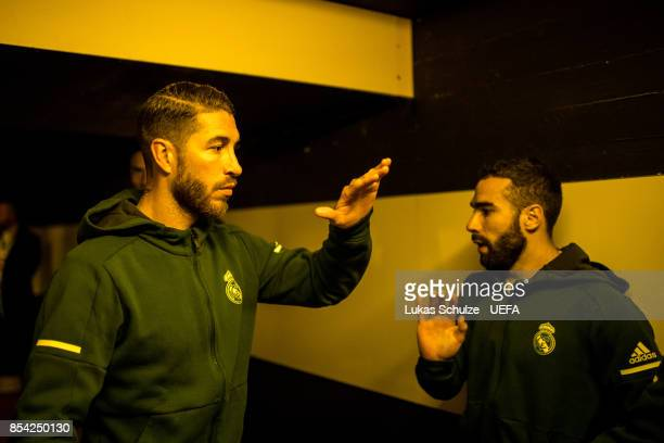 Sergio Ramos shakes hand with Dani Carvajal of Madrid in the player tunnel prior to the UEFA Champions League group H match between Borussia Dortmund...