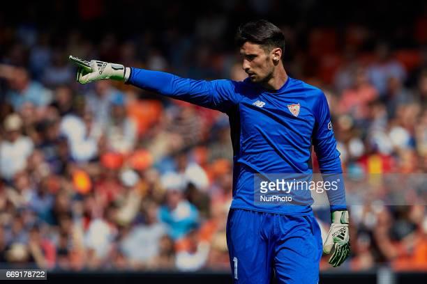 Sergio Rico goalkeeper of Sevilla FC reacts during the La Liga match between Valencia CF and Sevilla FC at Mestalla stadium on April 16 2017 in...