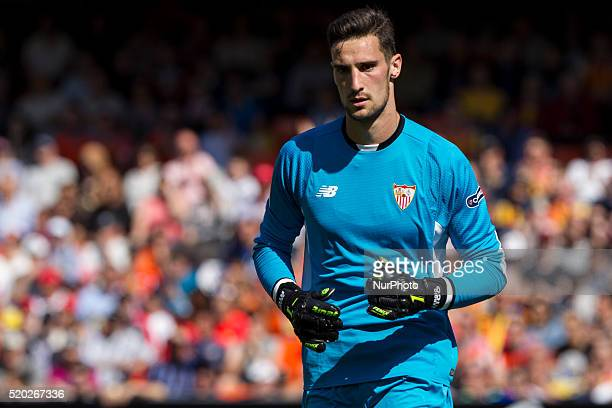 01 Sergio Rico Gonzalez of Sevilla CF during La Liga match between Valencia CF and Sevilla CF at Mestalla Stadium in Valencia on April 10 2016