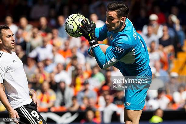 01 Sergio Rico Gonzalez of Sevilla CF during La Liga match between Valencia CF and Sevilla CF at Mestalla Stadium in Valencia on April 10 2016