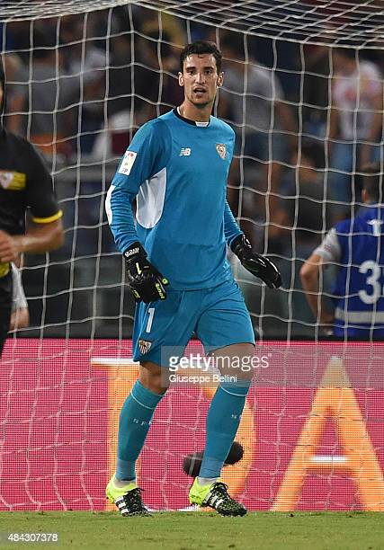 Sergio Rico González of Sevilla FC in action during the preseason friendly match between AS Roma and Sevilla FC at Olimpico Stadium on August 14 2015...