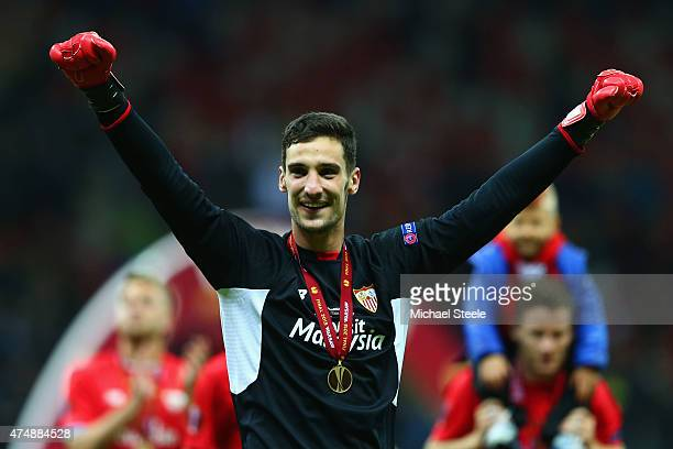 Sergio Rico of Sevilla celebrates victory after the UEFA Europa League Final match between FC Dnipro Dnipropetrovsk and FC Sevilla on May 27 2015 in...