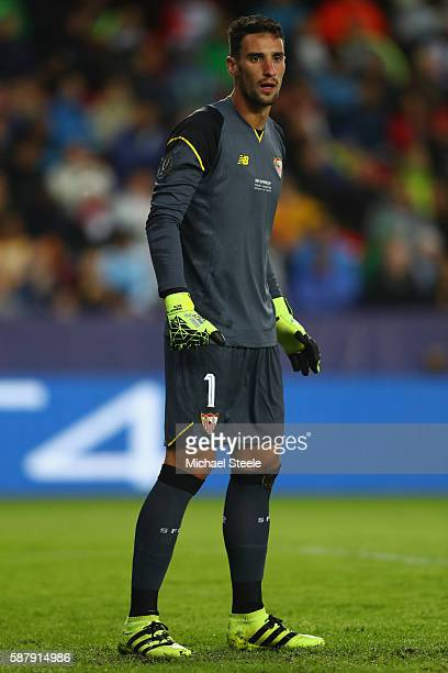 Sergio Rico of Sevilla during the UEFA Super Cup match between Real Madrid and Sevilla at Lerkendal Stadium on August 9 2016 in Trondheim Norway