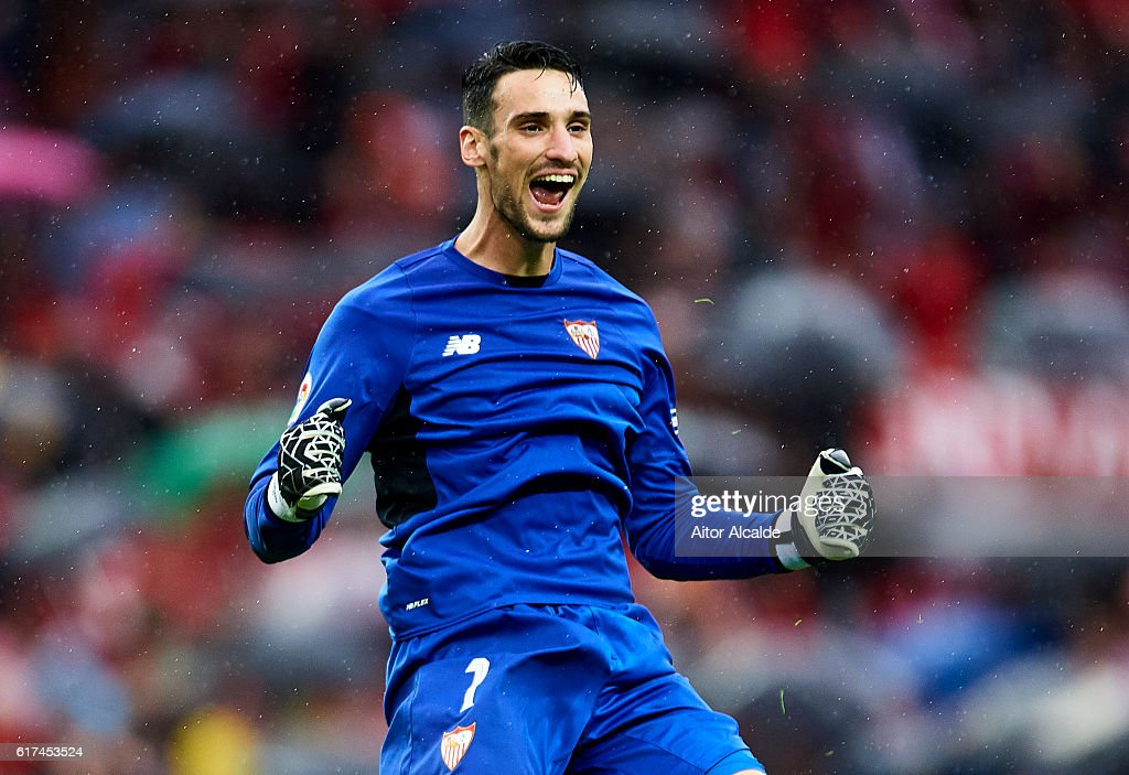 Sergio Rico of Sevilla FC celebrates after his team mate Steven N'Zonzi of Sevilla FC scores during the match between Sevilla FC vs Club Atletico de Madrid as part of La Liga at Estadio Ramon Sanchez Pizjuanon October 23, 2016 in Seville, Spain.