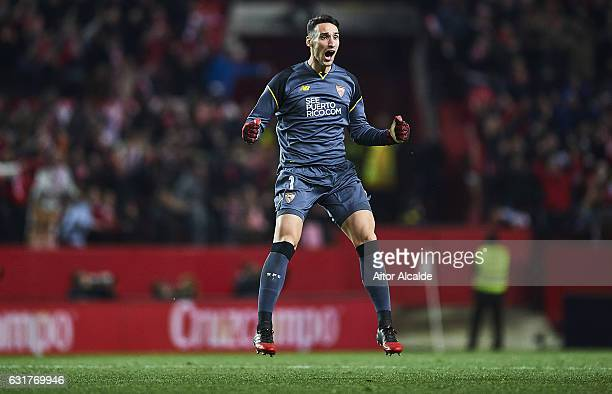 Sergio Rico of Sevilla FC celebrates after scoring his team mate Stevan Jovetic the second goal for Sevilla FC during the match against Real Madrid...