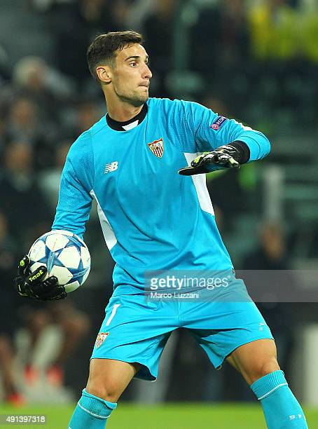 Sergio Rico of Sevilla FC in action during the UEFA Champions League group E match between Juventus and Sevilla FC at Juventus Arena on September 30...