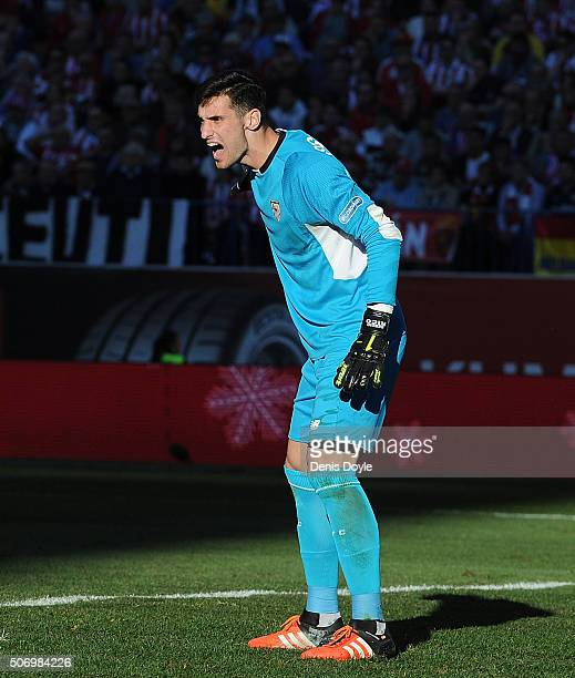 Sergio Rico of Sevilla FC jumps reacts during the La Liga match between Club Atletico de Madrid and Sevilla FC at Vicente Calderon Stadium on January...