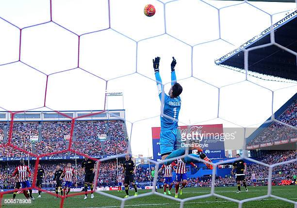 Sergio Rico of Sevilla FC jumps to catch the ball during the La Liga match between Club Atletico de Madrid and Sevilla FC at Vicente Calderon Stadium...