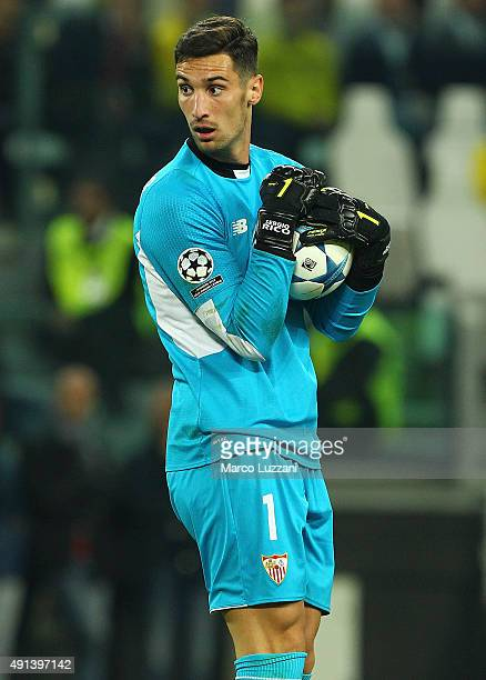 Sergio Rico of Sevilla FC looks on during the UEFA Champions League group E match between Juventus and Sevilla FC at Juventus Arena on September 30...