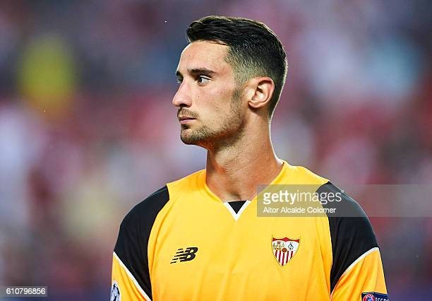Sergio Rico of Sevilla FC looks on during the UEFA Champions League match between Sevilla FC and Olympique Lyonnais at Sanchez Pizjuan stadium on...