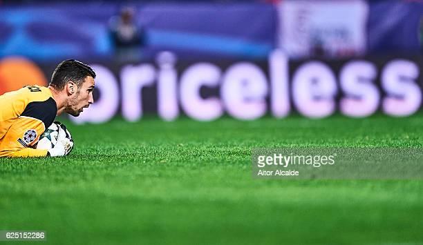 Sergio Rico of Sevilla FC looks on during the UEFA Champions League match between Sevilla FC and Juventus at Estadio Ramon Sanchez Pizjuan on...