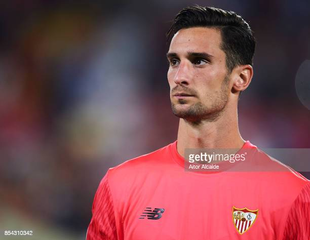 Sergio Rico of Sevilla FC looks on during the UEFA Champions League match between Sevilla FC and NK Maribor at Estadio Ramon Sanchez Pizjuan on...