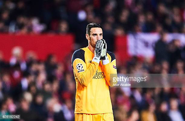 Sergio Rico of Sevilla FC reacts during the UEFA Champions League match between Sevilla FC and Juventus at Estadio Ramon Sanchez Pizjuan on November...