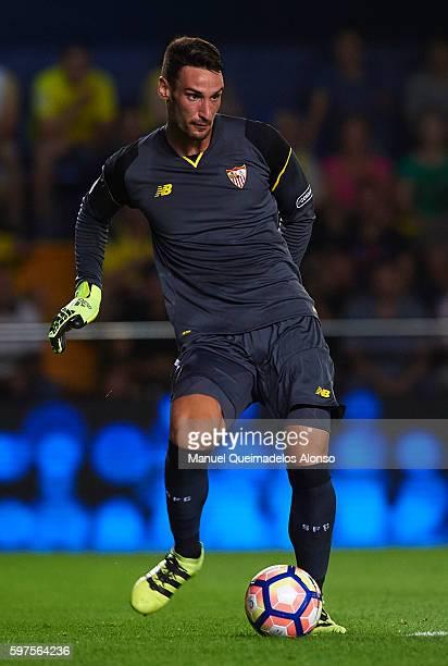 Sergio Rico of Sevilla in action during the La Liga match between Villarreal CF and Sevilla FC at El Madrigal on August 28 2016 in Villarreal Spain