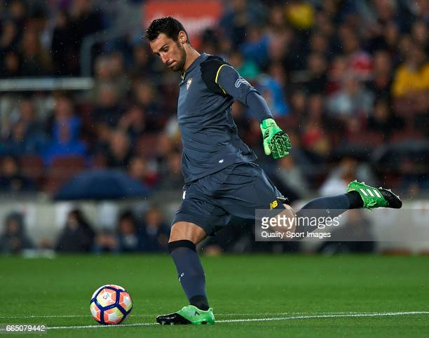 Sergio Rico of Sevilla in action during the La Liga match between FC Barcelona and Sevilla FC at Camp Nou Stadium on April 5 2017 in Barcelona Spain