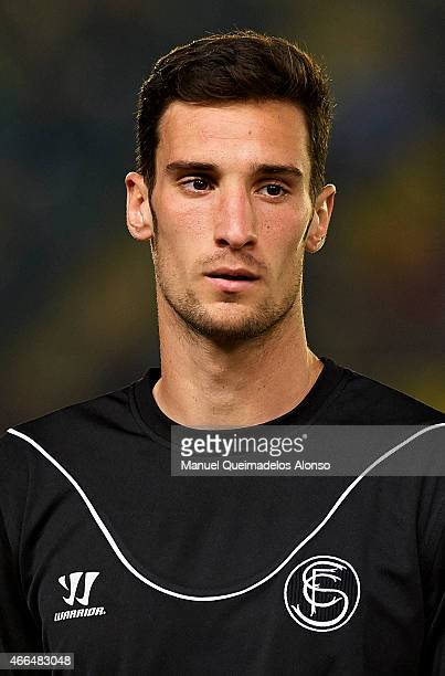 Sergio Rico of Sevilla looks on prior to the UEFA Europa League round of 16 match between Villarreal and FC Sevilla at Estadio El Madrigal on March...