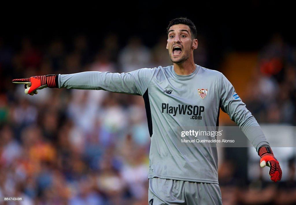 Sergio Rico of Sevilla reacts during the La Liga match between Valencia and Sevilla at Estadio Mestalla on October 21, 2017 in Valencia, Spain.