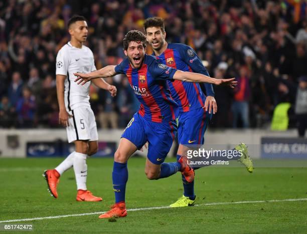 Sergio Roberto of Barcelona celebrates scoring the sixth goal during the UEFA Champions League Round of 16 second leg match between FC Barcelona and...