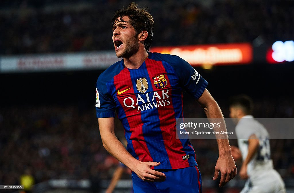 Sergio Roberto of FC Barcelona reacts during La Liga match between FC Barcelona and Real Madrid CF at Camp Nou Stadium on December 3 2016 in...