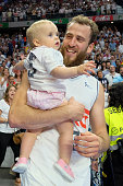 Sergio Rodrguez of Real Madrid celebrate their victory over the 201516 ACB League FC Barcelona in the Barclaycard Center in Madrid Spain on June 22...