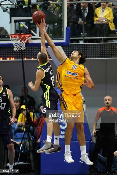Sergio Rodriguez #13 of Real Madrid competes with Kresimir Loncar #10 of BC Khimki Moscow Region in action during the 20122013 Turkish Airlines...