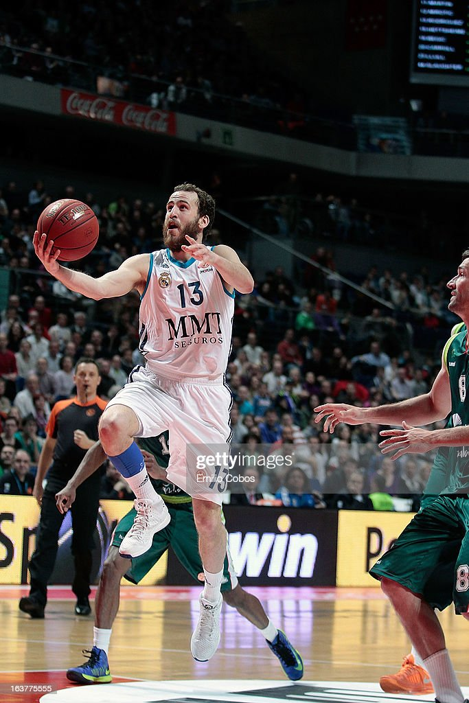 <a gi-track='captionPersonalityLinkClicked' href=/galleries/search?phrase=Sergio+Rodriguez+-+Basketball+Player&family=editorial&specificpeople=765161 ng-click='$event.stopPropagation()'>Sergio Rodriguez</a>, #13 of Real Madrid in action during the 2012-2013 Turkish Airlines Euroleague Top 16 Date 11 between Real Madrid v Unicaja Malaga at Palacio Deportes Comunidad de Madrid on March 15, 2013 in Madrid, Spain.