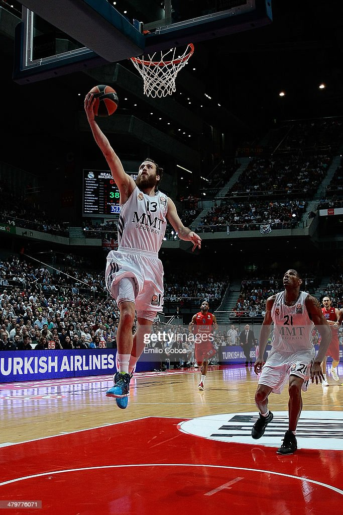 <a gi-track='captionPersonalityLinkClicked' href=/galleries/search?phrase=Sergio+Rodriguez&family=editorial&specificpeople=765161 ng-click='$event.stopPropagation()'>Sergio Rodriguez</a>, #13 of Real Madrid in action during the 2013-2014 Turkish Airlines Euroleague Top 16 Date 11 game between Real Madrid v CSKA Moscow at Palacio Deportes Comunidad de Madrid on March 20, 2014 in Madrid, Spain.