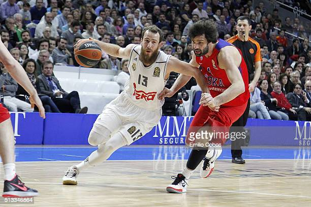 Sergio Rodriguez #13 of Real Madrid in action during the 20152016 Turkish Airlines Euroleague Basketball Top 16 Round 9 game between Real Madrid v...