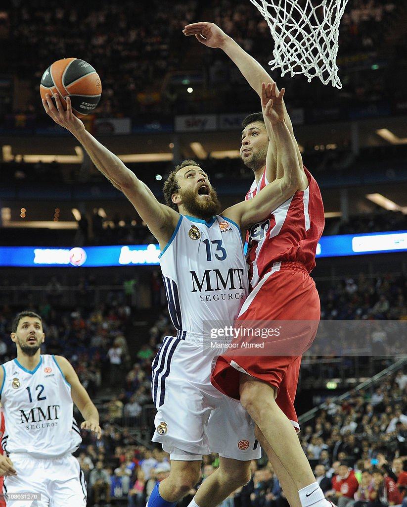 <a gi-track='captionPersonalityLinkClicked' href=/galleries/search?phrase=Sergio+Rodriguez&family=editorial&specificpeople=765161 ng-click='$event.stopPropagation()'>Sergio Rodriguez</a>, #13 of Real Madrid in action during the Turkish Airlines EuroLeague Final game between Olympiacos Piraeus v Real Madrid at O2 Arena on May 12, 2013 in London, United Kingdom.