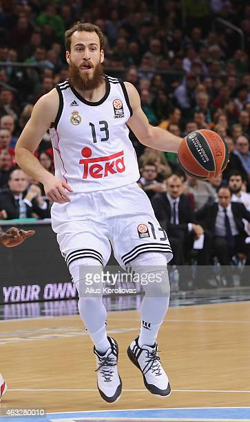 Sergio Rodriguez #13 of Real Madrid in action during the Turkish Airlines Euroleague Basketball Top 16 Date 7 game between Zalgiris Kaunas v Real...