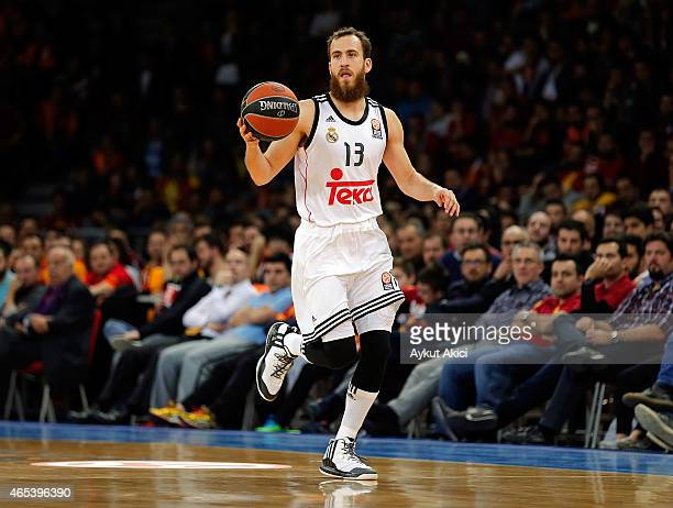Sergio Rodriguez #13 of Real Madrid in action during the Turkish Airlines Euroleague Basketball Top 16 Date 9 game between Galatasaray Liv Hospital...