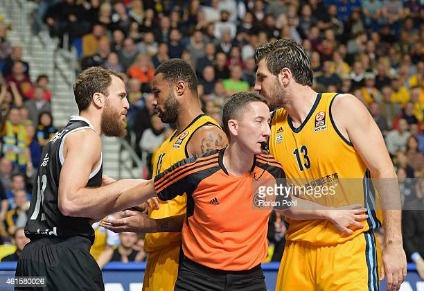 Sergio Rodriguez of Real Madrid and Marko Banic of ALBA Berlin argue during the game between Alba Berlin and Real Madrid on january 15 2015 in Berlin...