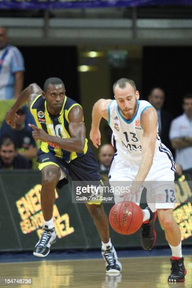 Sergio Rodriguez of Real Madrid competes wth Romain Sato of Fenerbahce Ulker during the 20122013 Turkish Airlines Euroleague Regular Season Game Day...