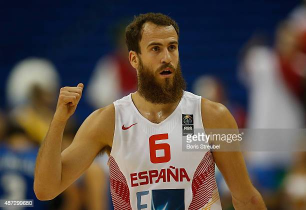 Sergio Rodriguez of Spain reacts during the FIBA EuroBasket 2015 Group B basketball match between Spain and Italy at Arena of EuroBasket 2015 on...