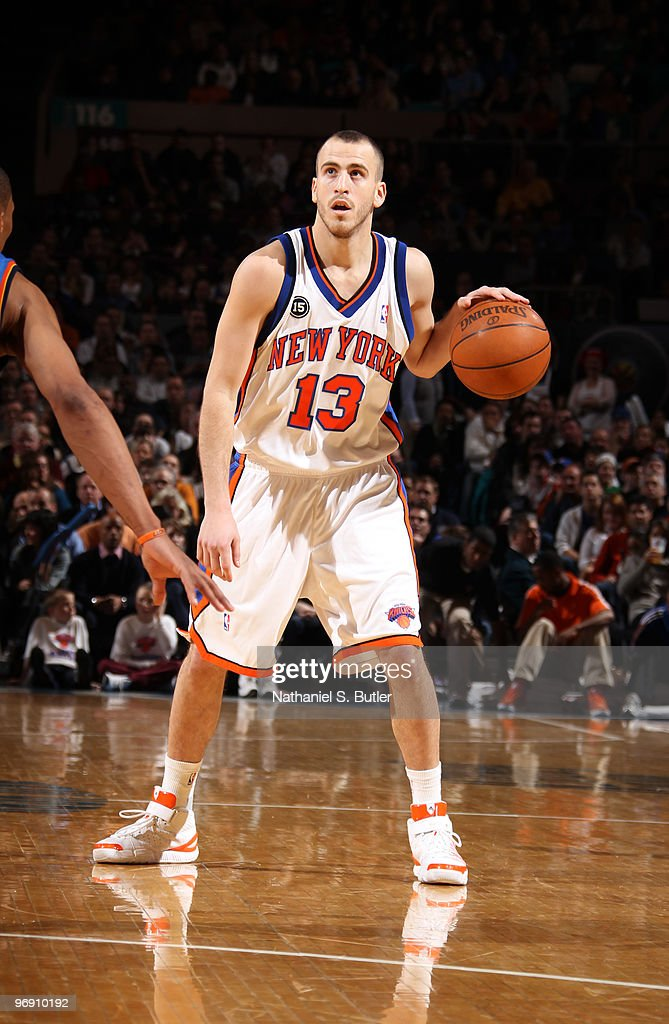 Sergio Rodriguez #13 of the New York Knicks looks for an opening against the Oklahoma City Thunder on February 20, 2010 at Madison Square Garden in New York City.