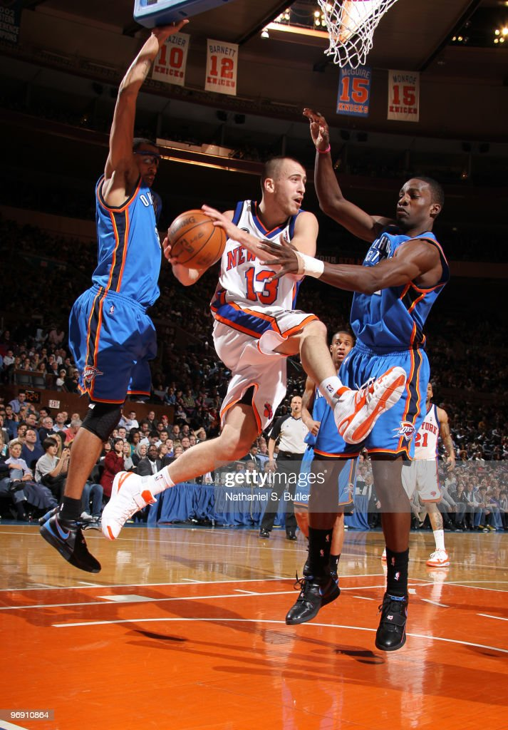 Sergio Rodriguez #13 of the New York Knicks passes against the Oklahoma City Thunder on February 20, 2010 at Madison Square Garden in New York City.