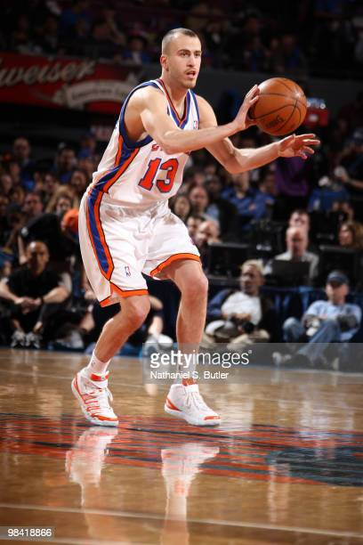 Sergio Rodriguez of the New York Knicks passes against the Washington Wizards on April 12 2010 at Madison Square Garden in New York City NOTE TO USER...