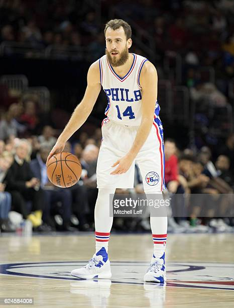 Sergio Rodriguez of the Philadelphia 76ers dribbles the ball against the Washington Wizards at Wells Fargo Center on November 16 2016 in Philadelphia...