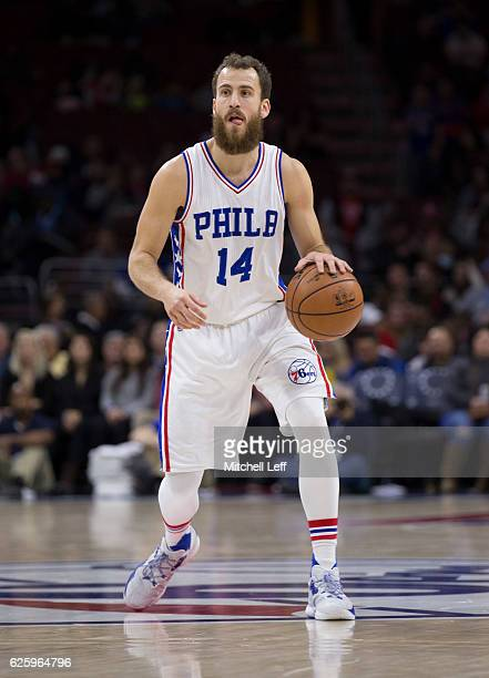 Sergio Rodriguez of the Philadelphia 76ers dribbles the ball against the Memphis Grizzlies at Wells Fargo Center on November 23 2016 in Philadelphia...